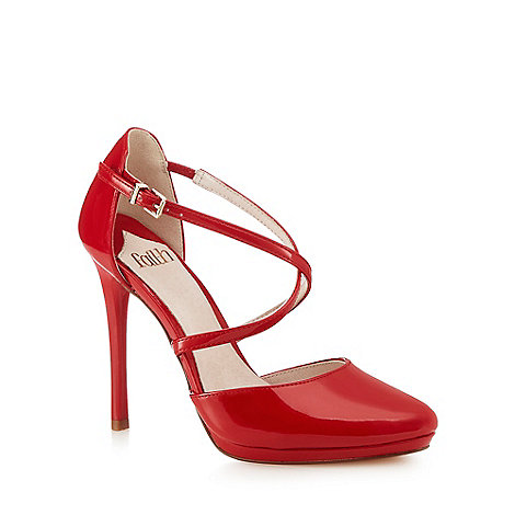 Faith - Red +Clara+ high heel court shoes