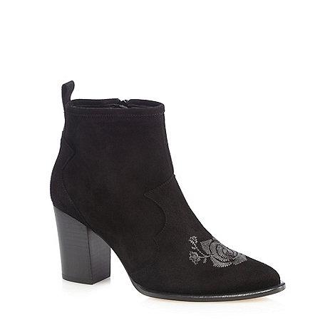 Faith - Black +Brodidery+ high ankle boots