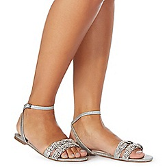 Faith - Silver diamante 'Jenga' ankle strap sandals