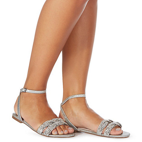 Faith - Silver glitter +Jenga+ comfort fit ankle strap sandals