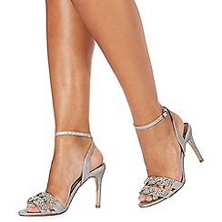Faith - Silver glittery 'Dash' high stiletto heel ankle strap sandals