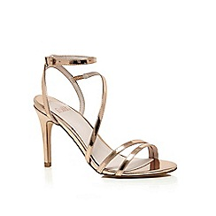 Faith - Gold patent 'Dilly' high heel wide fit ankle strap sandals