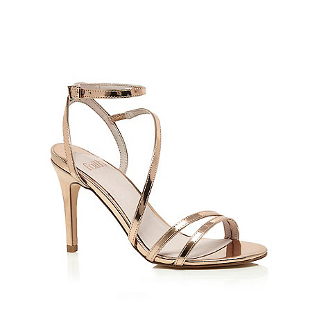 Faith - Gold patent +Dilly+ high heel wide fit ankle strap sandals