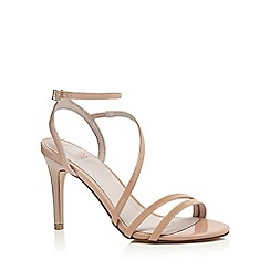 Faith - Cream patent 'Dilly' high heel wide fit ankle strap sandals