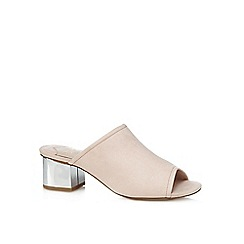 Faith - Pink suedette 'Dolly' mid block heel mules