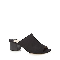 Faith - Black suedette 'Dolly' mid block heel mules