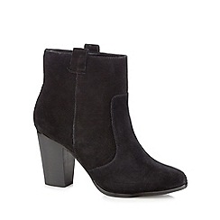 Faith - Black suede 'Blue' high block heel ankle boots