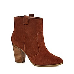 Faith - Tan suede 'Blue' high block heel ankle boots