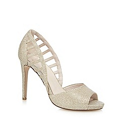 Faith - Gold 'Carbo' high stiletto heel peep toe shoes