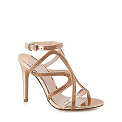 Faith - Pink diamante 'Lohan' high stiletto heel ankle strap sandals