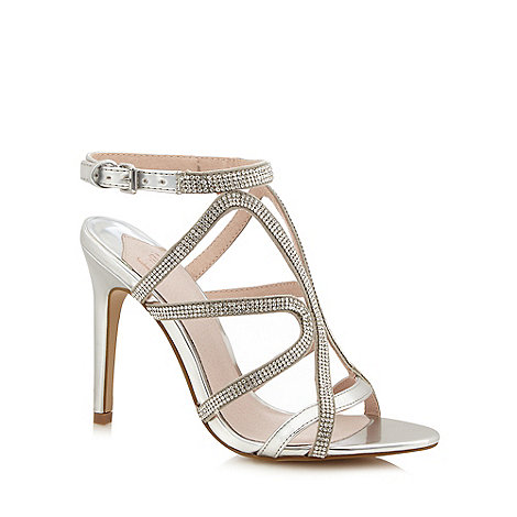 Faith - Silver diamante +Lohan+ high stiletto heel ankle strap sandals