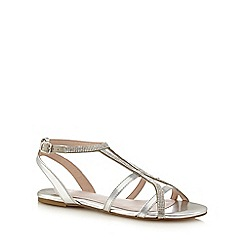 Faith - Silver diamante 'Jimi' comfort fit ankle strap sandals