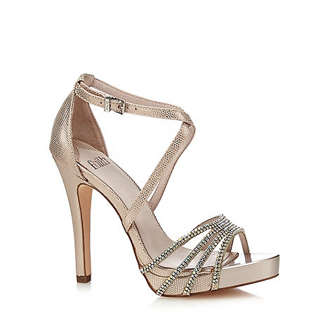 Faith - Light pink diamante +Leslie+ high stiletto heel ankle strap sandals