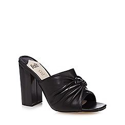 Faith - Black leather 'Lima' high block heel mules