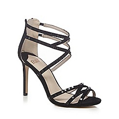Faith - Black 'Leigh' high stiletto heel ankle strap sandals