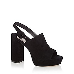 Faith - Black suede 'Lamar' high block heel slingback sandals