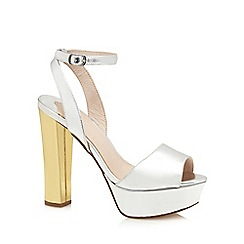 Faith - Silver 'Larson' high platform heel ankle strap sandals