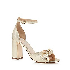 Faith - Gold leather 'Lingo' high block heel ankle strap sandals