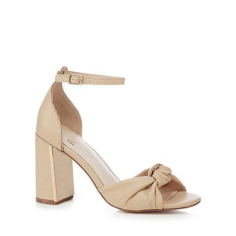 Faith - Natural cream leather +Lingo+ high block heel ankle strap sandals
