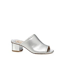 Faith - Silver 'Dolly' mid block heel mules