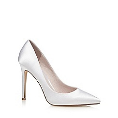 Faith - White satin 'Chloe' high stiletto heel pointed shoes