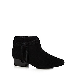 Faith - Black leather 'Bob' mid block heel ankle boots