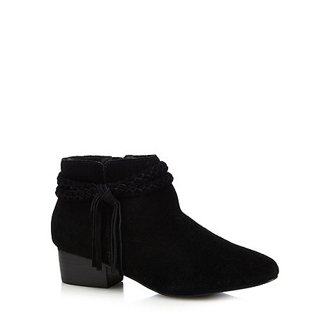 Faith - Black suede +Bob+ mid block heel ankle boots