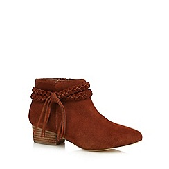 Faith - Tan leather 'Bob' mid block heel ankle boots