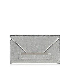 Faith - Silver sparkly 'Penny' envelope clutch bag