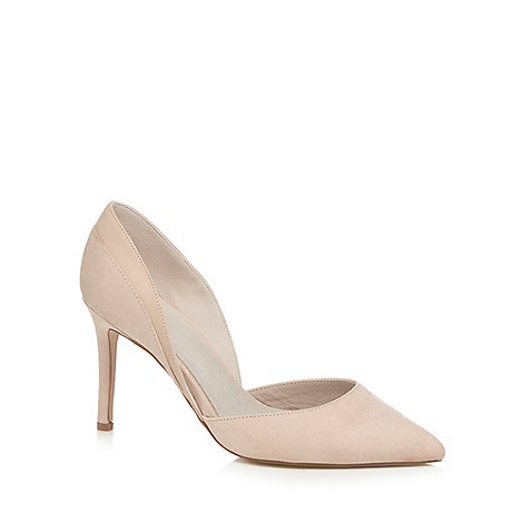 Faith - Natural suedette +Camilla+ high heel wide fit pointed shoes