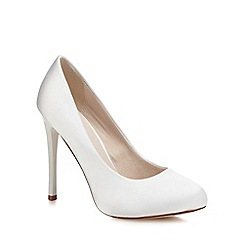 Faith - White satin 'Candy' high heel wide fit court shoes