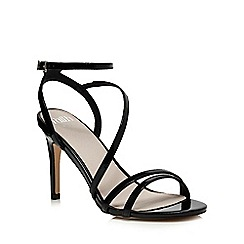 Faith - Black patent 'Dilly' high heel wide fit ankle strap sandals