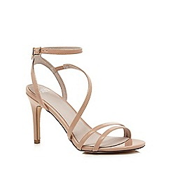 Faith - Natural patent 'Dilly' high heel wide fit ankle strap sandals