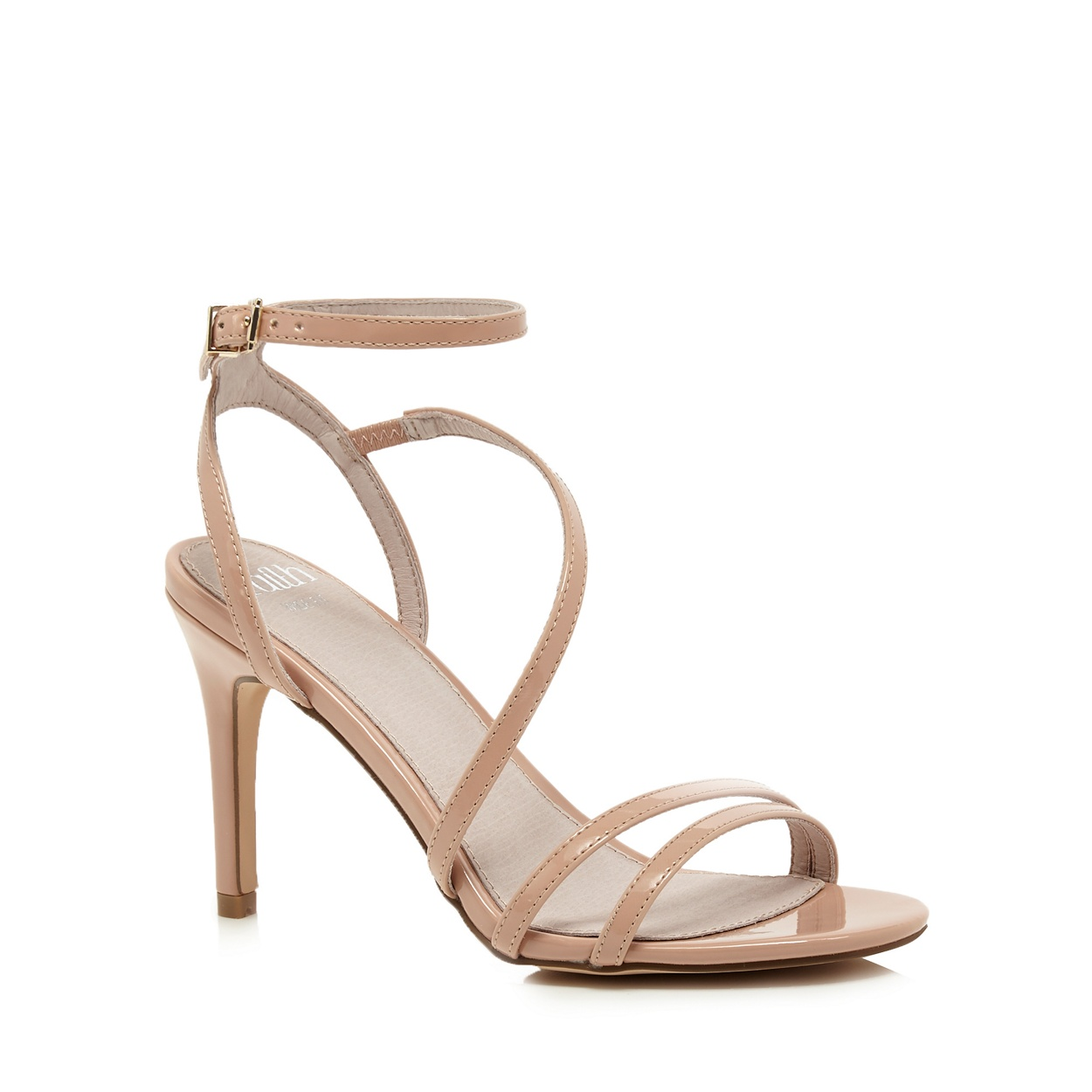Women's sandals debenhams - Faith Cream Patent Dilly High Heel Wide Fit Ankle Strap Sandals