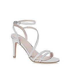 Faith - Silver high stiletto heel ankle strap sandals