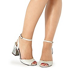 Faith - White 'Danica' mid block heel ankle strap sandals