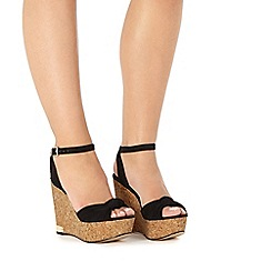 Faith - Black 'Lemon' high wedge sandals
