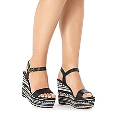 Faith - Black and white 'Lily' high wedge sandals