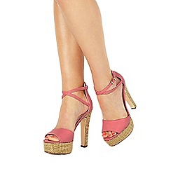 Faith - Pink 'Layla' high block heel ankle strap sandals