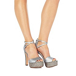 Faith - Silver 'Layla' high block heel ankle strap sandals