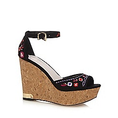 Faith - Black 'Dilemma' high wedge heel ankle strap sandals