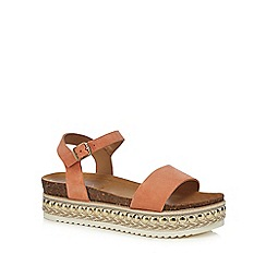 Faith - Coral leather 'Joss' mid platform ankle strap sandals