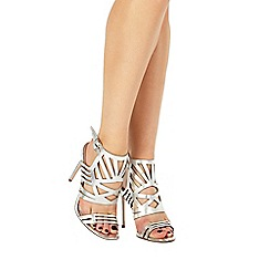 Faith - Silver leather 'Fiji' high stiletto heel ankle strap sandals