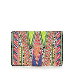 Faith - Multi-coloured 'Francine' bead embellished clutch bag
