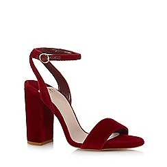Faith - Red suedette 'Daxon' high block heel ankle strap sandals