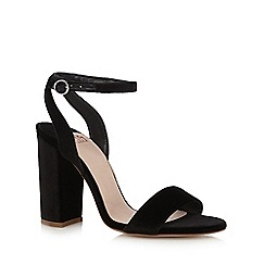 Faith - Black suedette 'Daxon' high block heel ankle strap sandals