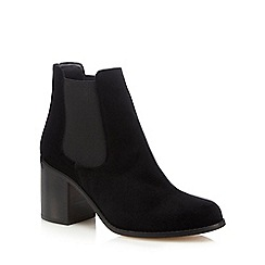 Faith - Black 'Sadie' velvet heel ankle boots