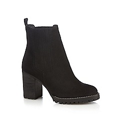 Faith - Black suede 'Bubble' high block heel Chelsea boots
