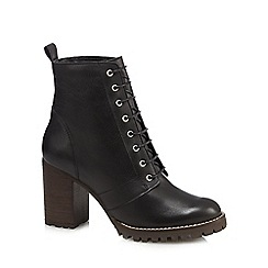 Faith - Black leather 'Bop' high block heel lace up boots