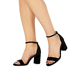 Faith - Black 'Demi' high heel wide fit ankle strap sandals